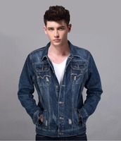 2015 vintage denim jacket fashionable comfortable plain cotton men wholesale denim jackets