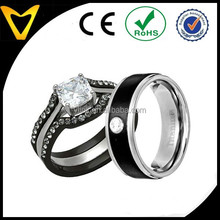 North America Popular His & Hers Wedding Ring Set 1 Ct Cushion Shape Cubic Zirconia Black IP Stainless Steel Titanium 4 Pcs