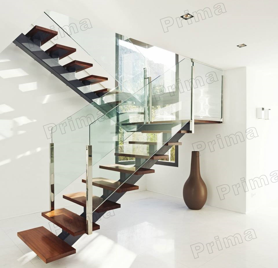Inside u shaped wood staircase with clear glass railing view u shaped wood staircase prima