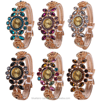 Women's Flower Style Shiny Rhinestone Cuff Bangle Bracelet Analog Quartz Wrist Watch