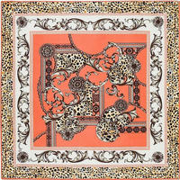 fashion square twill silk and polyester printed scarf