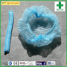 2015 Wholesale cosmetic disposable products nonwoven 10gsm PP mob cap with double elastic
