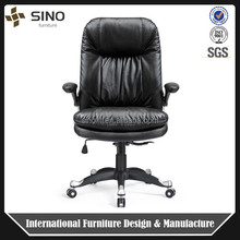 Durable Office swivel lift chair , leather Executive swivel chair with foldable armrest