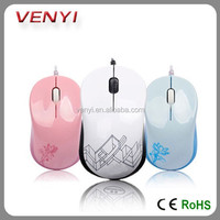 Hotsale colorful cute low cost 3D wired mini optical mouse