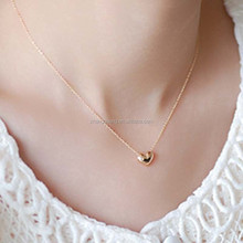 Tiny Elegant Small Gold Love Heart Cute Short Necklace Present Gift