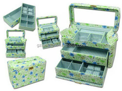 Design top sell led leather cover plastic jewelry box