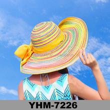 New design summer straw cowboy beach sun cap striped beach hats