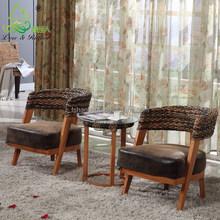 2016 New Modern Design Rattan Water Hyacinth Wooden coffee shop furniture