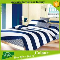 Bedding set with cotton stripe fabric blue and white