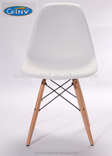 Colorful PP plastic Replica Modern DSW Eiffel Dining Chair with wood legs