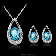 Free sample pendant necklace pure silver chain necklace and earring set heart of the ocean necklace CA197