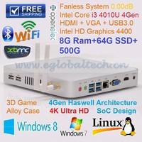 Mini Computer HTPC Case 8G RAM HDD 500GB 64GB SSD Hard Drive Fanless Ubuntu Mini PC Windows 7 with Intel NUC i3 Thin Client