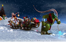 Christmas canvas poster of Santa's delivery