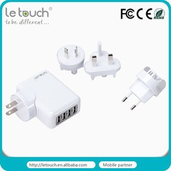 4 USB Travel Home Charger With Universal AC Plugs