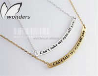Custom Charm Engraved Words Love Statement Bar Pendant Necklace Gold/Silver Plated Stainless Steel Anniversary Gifts Jewelry