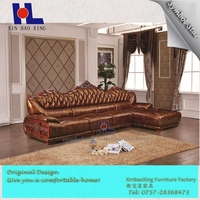 The Royal Family high luxury living room leather nobility sofa L style