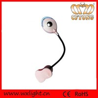 Adjustable head useful reading mini led clip lamp