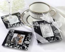 Wedding gift favor Practical Wedding Favors hand blown glass art glass Timeless Traditions' Black & White Photo Coasters