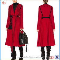 High Quality Clothing Manufacturers Professional Supplier Custom Women Fashion Coats 2015 Winter Modern Ladies Red Long Coats