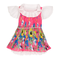 New Pink Sleeve Kids Fashion Frock Chiffon Children Girls Frock