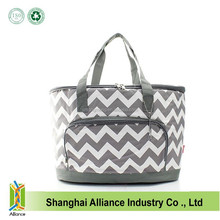 Large Chevron Gray Insulated Cooler Beach Tote Bag Picnic Basket bag