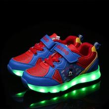 venta al por mayor de velcro niños calzan con LED