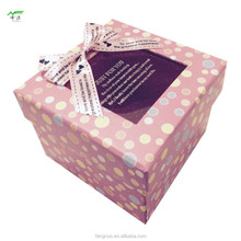 Maufacturer,Square-shaped gift paper box,with clear PVC window lid