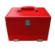 Red checked PVC leather cosmetic case slap-up aluminum case