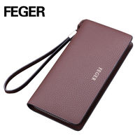 FEGER new arrival long type fashion elegant leather young man genuine leather wallet