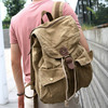 6604 Durable Western Fashionable Khaki Men's Retro Canvas Day Backpack Pack with Multiple Pockets