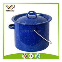 Carbon steel enamel camping pot with lid