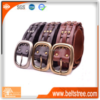 Guangzhou factory wholesale fashion man genuine leather braided belt