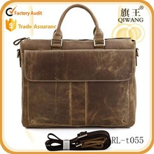 100% real crazy horse leather men's brown briefcase MESSENGER bags