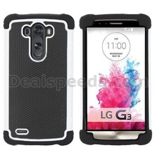 Dual-color Anti Slide Football Pattern Detachable Silicone+PC Hybrid Case for LG G3 D850 D855 LS990