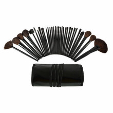 Pro 32 PCS Makeup Brush Cosmetic Set Kit Case + Black Make-up Brushes Pouch Bag