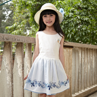 fashion navy style printed girls cotton dress for summer made in china