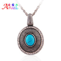 have spot wholesale new fashion jewelry design for woman oval blue stone rhinestone adornment ancient silver color long necklace