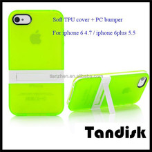 2015 New TPU +PC phone cover for IPhone 4.7 inch light protective shell with stand support