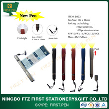 First L033 Mini 3 In 1 Lanyard Light Stylus Plastic Ball Pen With Phone Chain
