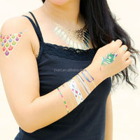 Customized Gold Silver Foil flash Tattoo Fake Temporary Body Jewelry Tattoo,