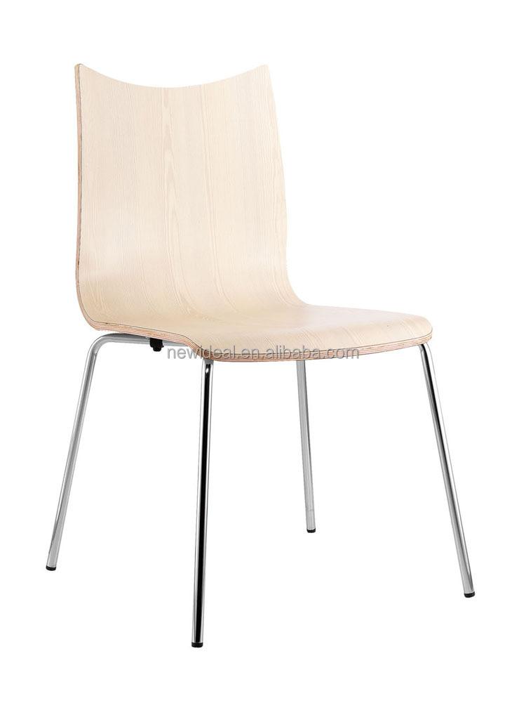 Chromed Metal Leg L Shape Bentwood Chair Design Dining