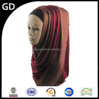 GDHH0125 Gold stamp overlapping curve scarf party wear glitter hijab fashion turban