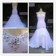 Real Photoes Mermaid Sweetheart Organza Ruched Wedding Dress With Beading Lace Up Closure Weddng Gown2015 Hot Sale