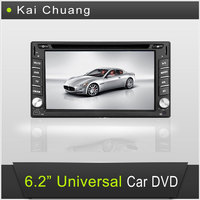 6.2inch Touch Screen Dashboard Universal Car DVD GPS Player with Bluetooth Radio USB AUX-In SWC
