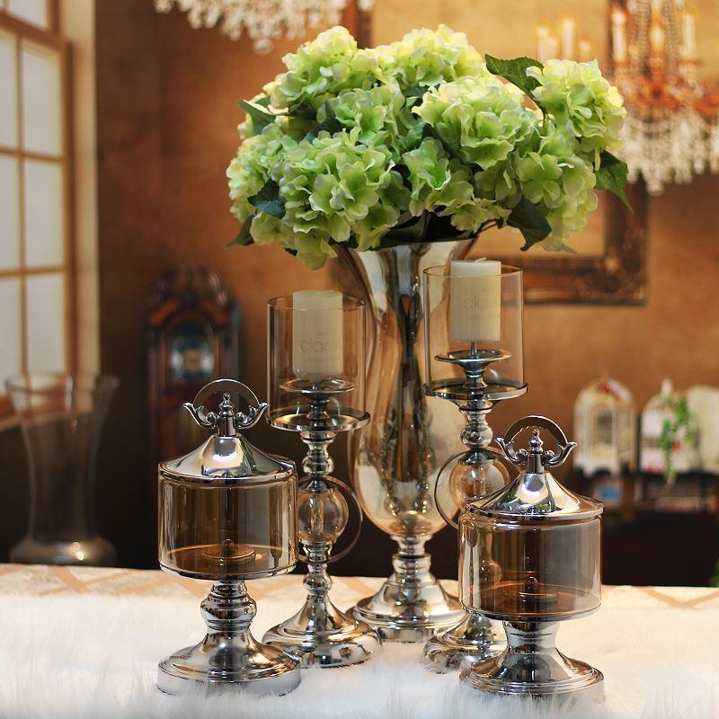 Neo klassieke home decoratie moderne luxe woonkamer glazen kandelaar model kamers tellende - Klassieke chique decoratie ...