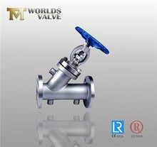 PN16 handle operated flange end angle globe valve