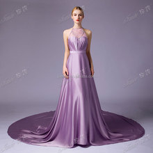 Real Sample Suzhou Factory Quality Purple Color Flowing Satin Open Back Long Evening Dress Wholesale With A Train