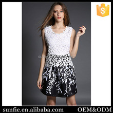 Latest Crochet Leaf Printed Lace casual dress alibaba online shopping sites for wholesale clothing