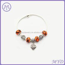 925 sterling silver heart murano glass bead bracelet