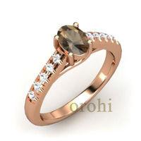 wholesale 18k rose gold smoky quartz ring fashion jewelry white diamond oval shape wedding rings HG303-SQ-R